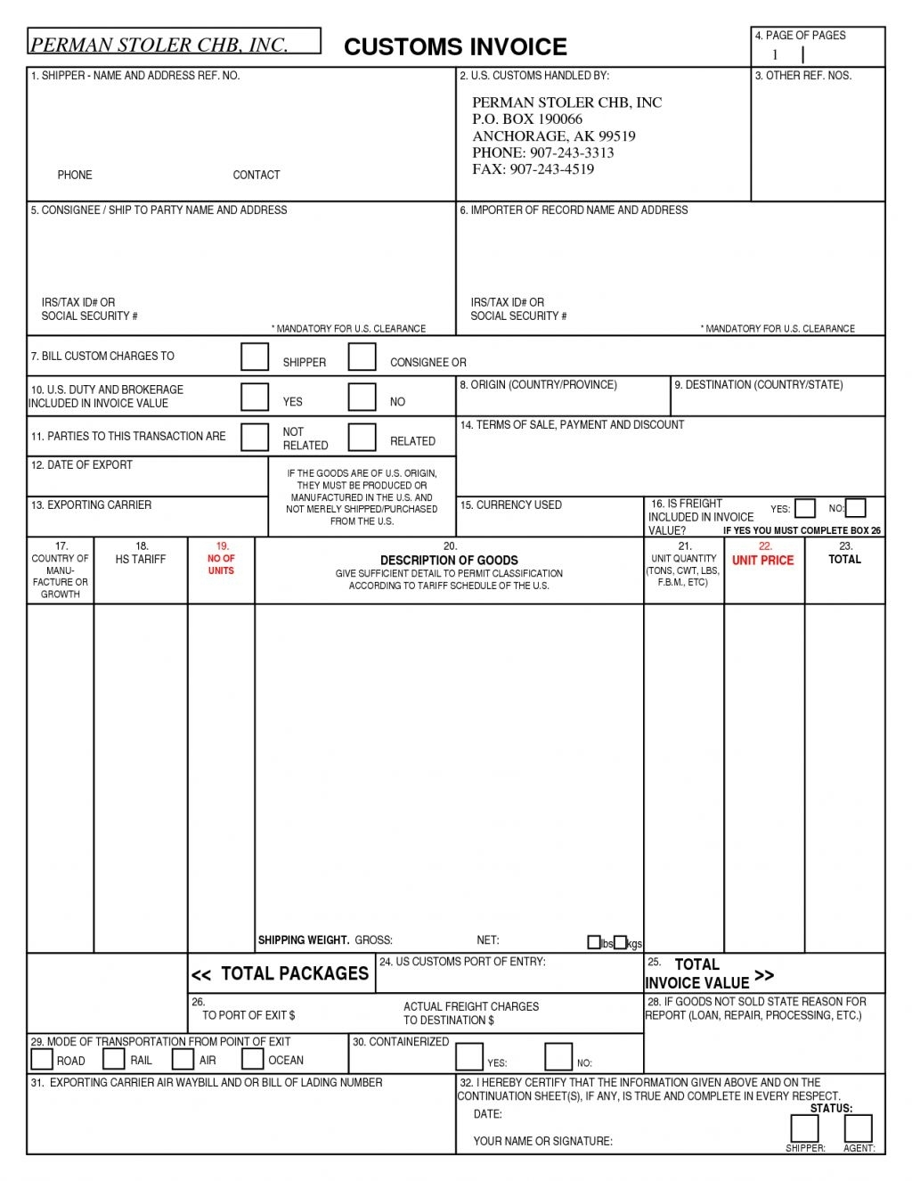 canada customs invoice form instructions