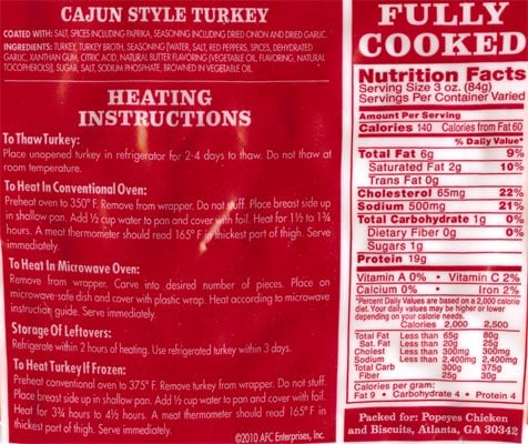 popeyes turkey cooking instructions